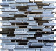 Grey & Black Glass & Stone Brick Shape Walls Borders Mosaic Tiles Sheet MT0019: Amazon.co.uk: Kitchen & Home