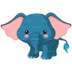 CLIPART BLUE BABY ELEPHANT | Royalty free vector design