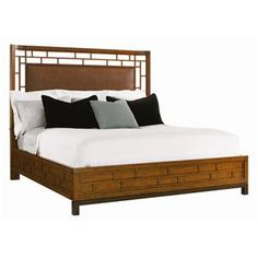 Ocean Club Queen-Size Paradise Point Bed with Wood Framed Woven Rattan Panel by Tommy Bahama Home at Baer's Furniture