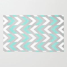 Society6 Teal & White Herringbone Chevron On Silver Wood Rug 3' x 5' Society6