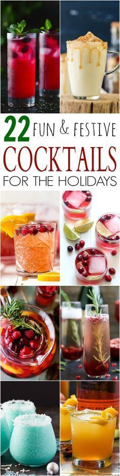 22 Fun Festive Cocktail Recipes for the Holidays to make sure you have one AWESOME Holiday Party to remember! | Appetizer Recipes | Party Food | New Years Eve Party