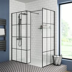 Avail to buy SHOP the Arezzo 1600 x 800 Matt Black Grid Wet Room (Inc. Screen, Side Panel + Tray) at Victorian Plumbing UK Avail to buy SHOP the Arezzo 1600 x 800 Matt Black Grid Wet Room (Inc. Screen, Side Panel + Tray) at Victorian Plumbing UK Wet Room Shower Screens, Walk In Shower Enclosures, Walk In Shower Designs, Black Shower, Large Shower, Room Tiles, Wet Rooms, Small Bathroom, Master Bathroom