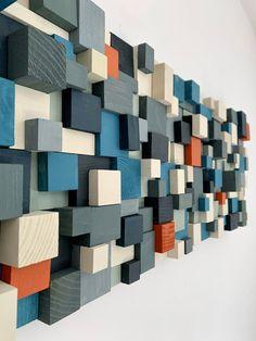 Wooden Wall Decor, Wooden Wall Art, Wooden Walls, Diy Wall Art, Wall Wood, Wooden Wall Design, Scrap Wood Art, Acoustic Panels, Diy Wood Projects
