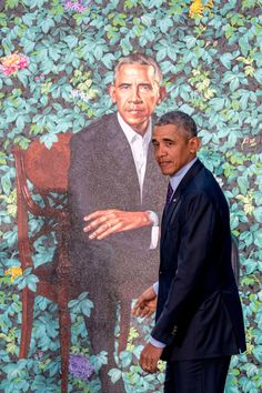 Barack and Michelle Obama's official portrait.