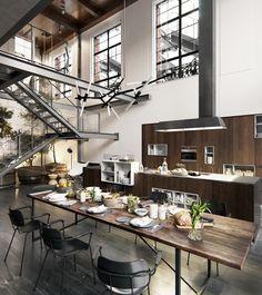 Loft interior design ideas for home modern – simple house decor interior New York Loft, Studio Loft, Loft Stil, Casa Loft, Style Loft, Loft Style Homes, Loft Kitchen, Kitchen Decor, Studio Kitchen