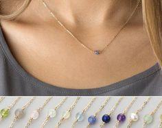 Birthstone Necklace Gift for Mothers von LayeredAndLong auf Etsy