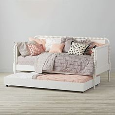 Kids Safety Our kids beds have been crafted with safety in mind and are built to handle everything kids throw their way. - Our white Jenny Lind kids daybed is perfect for your guest room, living room or for story time. Shop for daybeds at The Land of Nod. Girls Daybed Room, Kids Daybed, Girls Bedroom, Girls Trundle Bed, Bedroom Ideas, Daybed Ideas For Girls, Toddler Trundle Bed, Daybed In Living Room, Master Bedroom