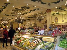 Harrods Food Hall - Fruits and Veggies under chandeliers...just saying!!! :)))