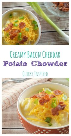 This creamy bacon potato chowder takes the loaded baked potato soup up to the next level. It's so chock full you are going to need a fork! My family loves to make a big pot of this easy homemade soup and eat off of it all week. Click the pin for the full recipe.