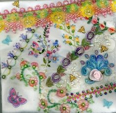 I ❤ crazy quilting . . . Floral Crazy Quilt Block 8 ~By Kitty And Me