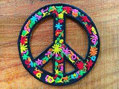 New Peace sign hippie boho retro flower power love hippy applique iron on patch