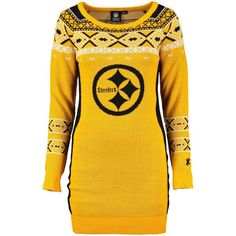 900dc664f8a Women s Pittsburgh Steelers Klew Gold Big Logo Ugly Sweater Dress -  NFLShop.com Womens Steelers