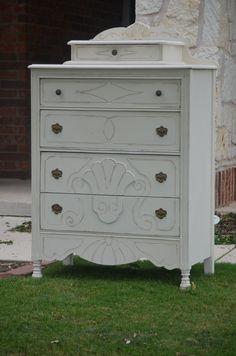 Antique Shabby Chic White Dresser / Chest of by ShabbyMeBella, $350.00
