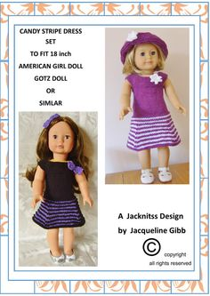 Pdf Knitting Pattern # 12 American Girl Doll Candy Stripe & Party Delight Sets. This is one of my own designs suitable for 18 AMERICAN Girl Doll,Gotz