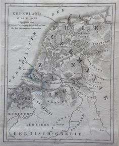Nederland in de 1e eeuw, een antieke kaart van Nederland door Veelwaard uit 1855 Star Fort, Asatru, Old Maps, Historical Maps, Netherlands, Holland, Vintage World Maps, Symbols, Memories