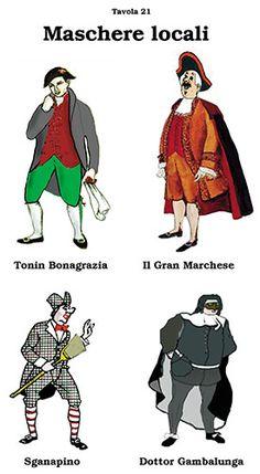 Sganapino: Bologna; Dottor Gambalunga: Roma; Il Marchese: Genova; Tonin Bonagrazia: Venezia Bologna, Mystic, Jokers, Movies, Movie Posters, Vintage, Design, Journaling, Fotografia