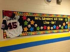 I used one of my son' sold baseball uniforms for my Back-to School Bulletin Board! Teamwork Bulletin Boards, Sports Bulletin Boards, Sports Theme Classroom, Back To School Bulletin Boards, Classroom Bulletin Boards, Classroom Door, Classroom Ideas, Classroom Design, Classroom Resources