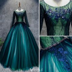 Wish Dresses, Old Dresses, Prom Dresses 2017, Pretty Dresses, Formal Dresses, Beautiful Evening Gowns, Ball Gowns Evening, Dark Green Prom Dresses, Long Sleeve Gown