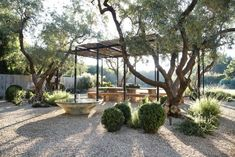 Gravel Patio With Pergola modern patio lights.Enclosed Patio Blue Ceilings gravel patio with pergola. Pea Gravel Patio, Gravel Landscaping, Landscaping Ideas, Inexpensive Landscaping, Patio Design, Exterior Design, Modern Exterior, Xeriscaping, Garden Inspiration