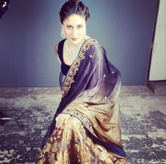 makeupartistsofcolour: FIRST LOOK Actress Kareena Kapoor in Vikram Phadnis Antique Gold Lehenga for Malabar Jewels