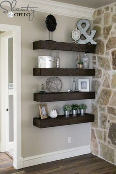 Hey guys!! I am so excited about this project that I'm sharing today!!! I built the 8 floating shelves you see there for only $120!!! Each shelf is 4 ft. long and 12 in. deep! How amazing is that 🙂 I was inspired by the floating shelves that Whit built in her bathroom! If you…