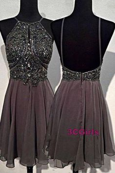 Cute sequins chiffon prom dress, homecoming party dress, short dress for teens