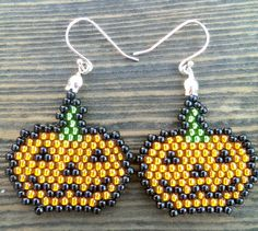 $25 - Pumpkin Beaded Earrings - Halloween Jack O Lantern Earrings - Cute Holiday Dangle Earrings - Smiling Pumpkin Glass Beaded Earrings