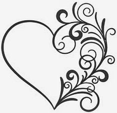 Stencil Patterns, Stencil Art, Embroidery Patterns, Stencils, Little Heart Tattoos, Heart Coloring Pages, Herz Tattoo, Paper Quilling Designs, Heart Tattoo Designs