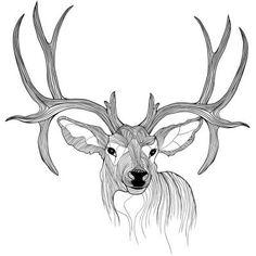 Illustration of Deer head animal illustration for t-shirt Sketch tattoo design vector art, clipart and stock vectors. Hirsch Illustration, Deer Illustration, Sketch Tattoo Design, Tattoo Sketches, Deer Tattoo Meaning, Elk Tattoo, Shirt Sketch, Woodland Art, Deer Art
