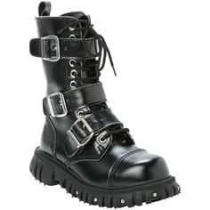 demonia By Pleaser Black Studded Cuff Lace-Up Boots - Google Search