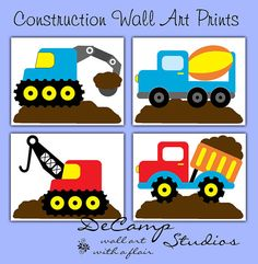 Construction dump truck vehicles wall art prints for baby boy nursery or any children's bedroom decor. Four different construction vehicles. Beautiful and unique and perfect for the little construction truck lover #decampstudios