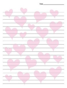 Valentine's Day Heart Background Lined Paper
