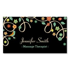 Massage Therapist - Elegant Swirl Floral Business Card Templates. This is a fully customizable business card and available on several paper types for your needs. You can upload your own image or use the image as is. Just click this template to get started!