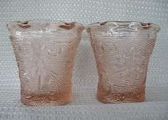 Tiara Indiana Glass 2 Peach Sandwich Crimped Votive Candle Holder Cups #IndianaGlass
