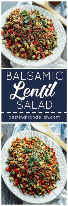 Balsamic Lentil Salad | Destination Delish – an easy salad or side dish of hearty lentils and fresh veggies, tossed in a balsamic vinaigrette dressing