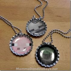 Minecraft Bottle Cap Necklace - could use wood squares too