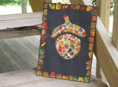 fall crafts - acorn mosaic picture