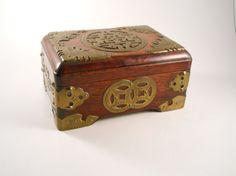 Vintage Wood Brass Chinese Trinket Treasure Box by MissPattisAttic