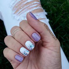 White Acrylic Nails, White Nails, Gel Polish Colors, Nail Colors, Nail Polish, Fancy Nails, Pretty Nails, Pretty Makeup, Purple Glitter Nails