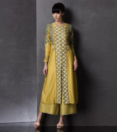 Lime #Embroidered #Chanderi #Jacket With #Palazzos by #Am:Pm at #Indianroots