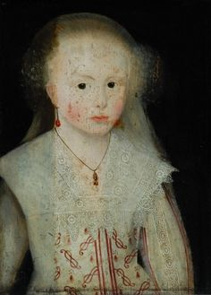 Unknown English artist, Girl in grey dress with lace collar (16th-17th century)