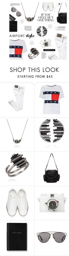 """""""Jet Set: Airport Style"""" by blingsense ❤ liked on Polyvore featuring Tommy Hilfiger, Alexander Wang, Valentino, Lomography, Passport and Christian Dior"""