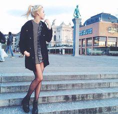 Black Boots, Sheer Black Tights, Striped Dress, Flannel, Over-Sized Black Jacket... City Grunge