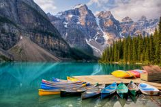 Moraine Lake, Alberta, CA - We'll be here hiking, and fishing if you need us.