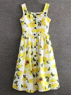 Shop Yellow Lemon Printed Button Skater Dress online. SheIn offers Yellow Lemon Printed Button Skater Dress & more to fit your fashionable needs.