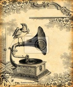 """Wall Mural """"gramophone, phonograph, music - gramophone 1900"""" ✓ Easy Installation ✓ 365 Day Money Back Guarantee ✓ Browse other patterns from this collection!"""