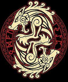 'Fenrir' by Dan Dee - Fenrir Tattoo, Norse Tattoo, Inca Tattoo, Celtic Tattoos, Viking Tattoos, Armor Tattoo, Warrior Tattoos, Wiccan Tattoos, Indian Tattoos