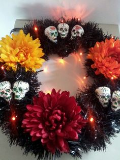 Day of the dead wreath hand made and painted by me!