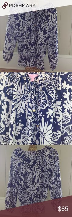 Lilly Pulitzer Peplum Top Lilly Pulitzer Peplum Style Top, Size XS, 100% Silk, Long Sleeve, Ties at Neck With Gold Accent Beads, Navy/White Combo, worn 2x! Lilly Pulitzer Tops Blouses