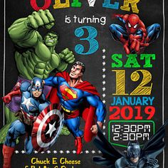 Brandy Boccia added a photo of their purchase Superhero Party Invitations, Free Birthday Invitations, Digital Invitations, Avengers Birthday, Superhero Birthday Party, 3rd Birthday Parties, 4th Birthday, Kids Party Themes, Anime
